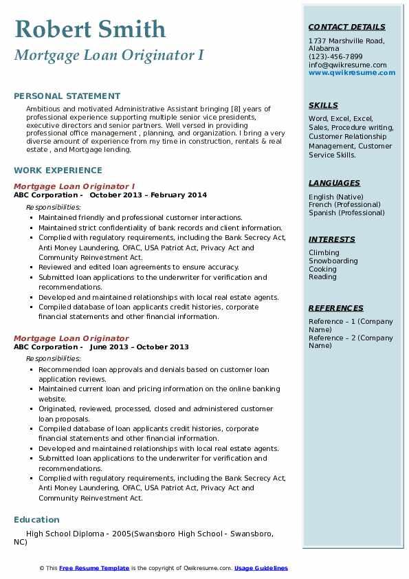 Mortgage Loan Originator I Resume Format