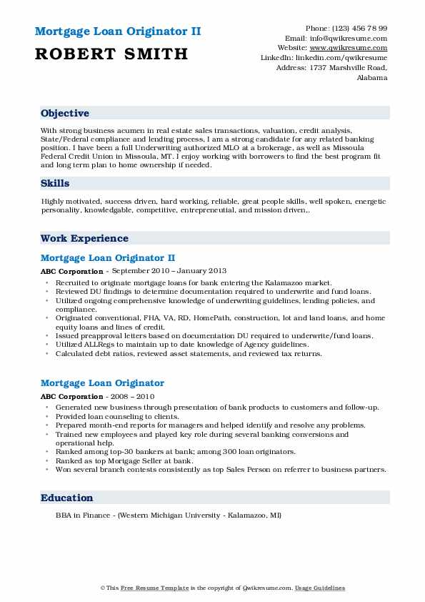 Mortgage Loan Originator II Resume Template