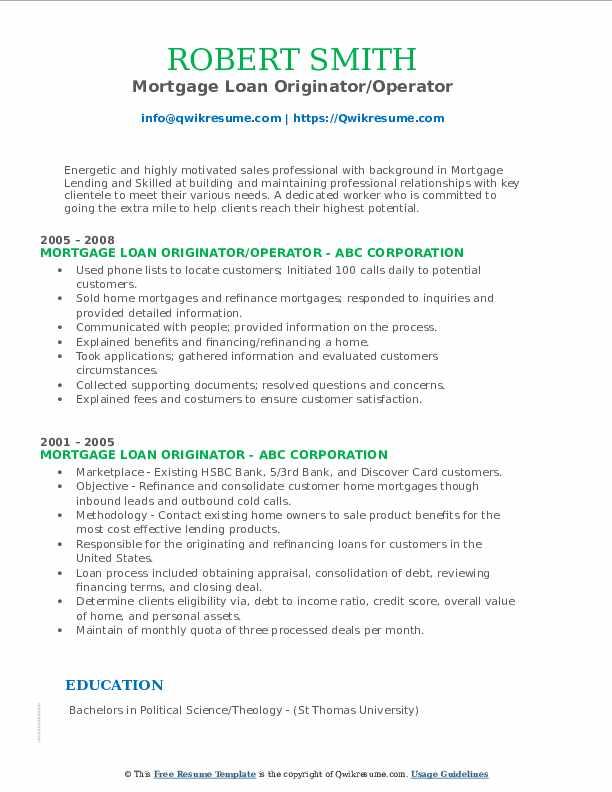 Mortgage Loan Originator/Operator Resume Template