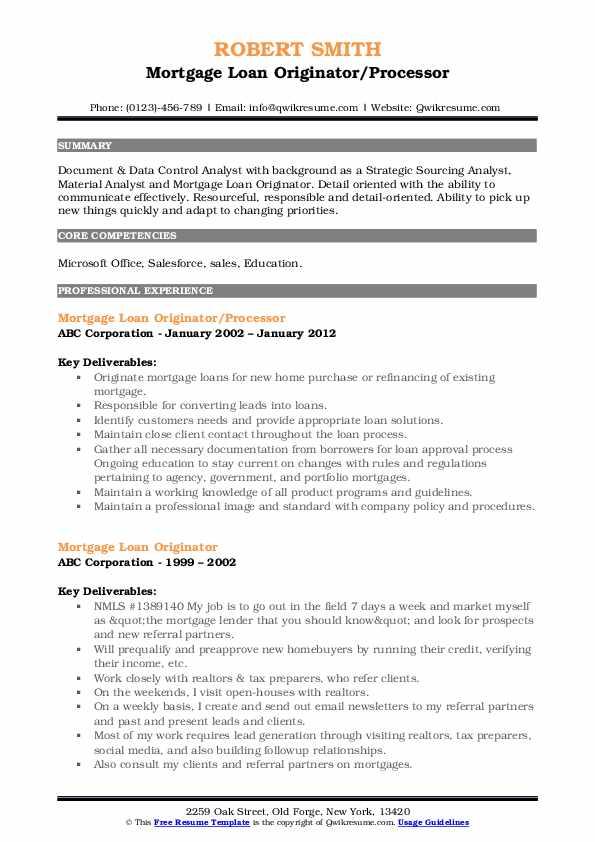 Mortgage Loan Originator/Processor Resume Model