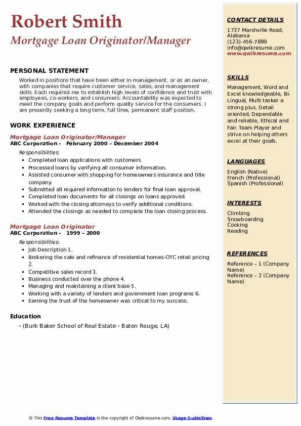 Mortgage Loan Originator/Manager Resume Format