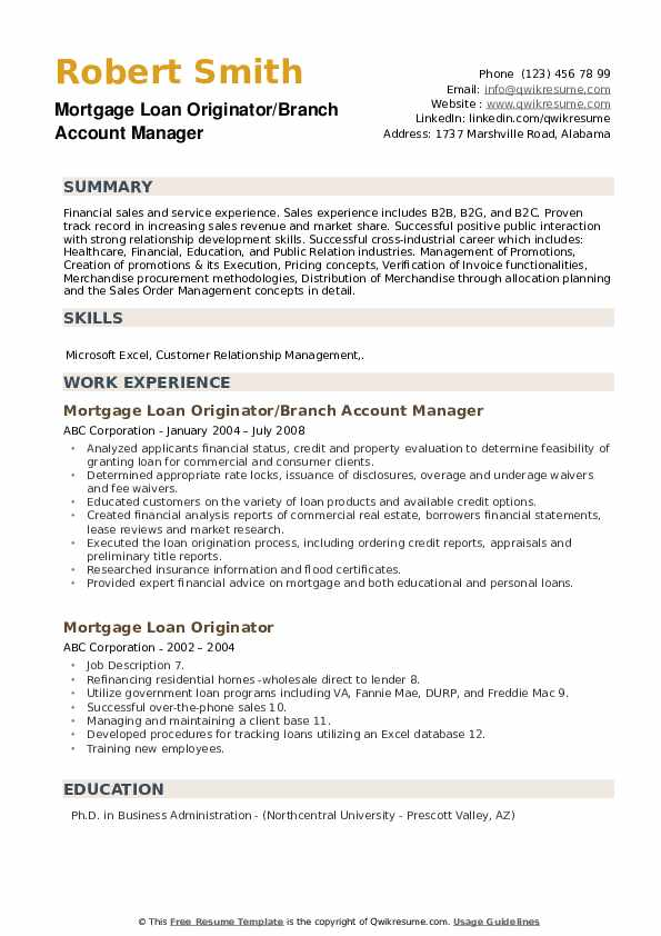 Mortgage Loan Originator/Branch Account Manager Resume Template