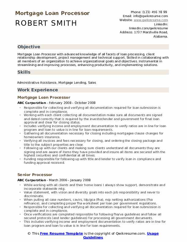 Mortgage Loan Processor Resume Format
