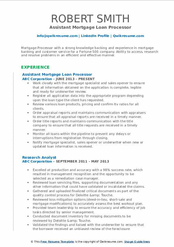 Assistant Mortgage Loan Processor Resume Model