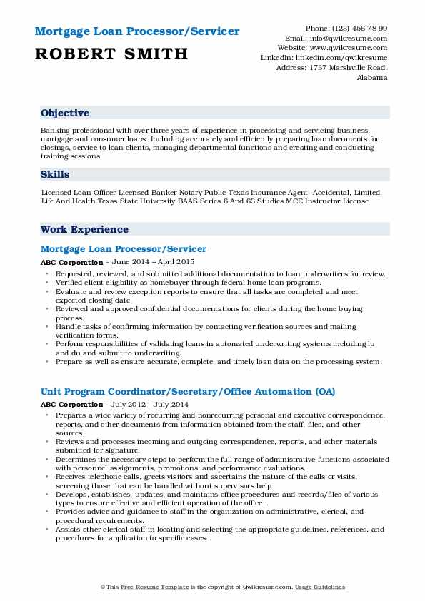 Mortgage Loan Processor/Servicer Resume Format