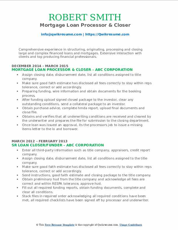 Mortgage Loan Processor & Closer Resume Sample