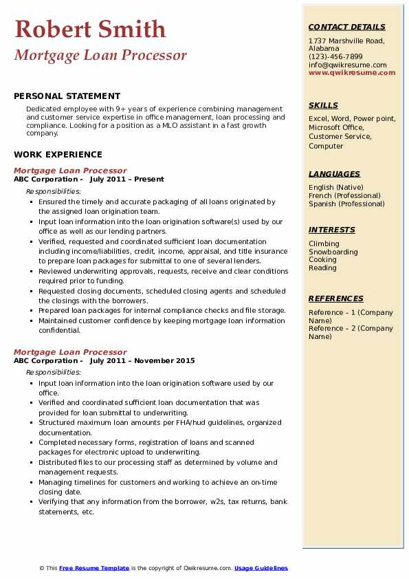 Mortgage Loan Processor Resume Samples Qwikresume