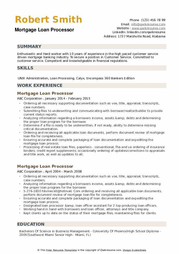 Mortgage Loan Processor Resume Example