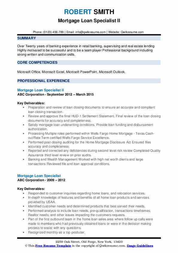 Mortgage Loan Specialist II Resume Example