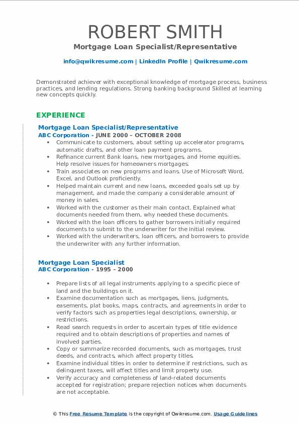 Mortgage Loan Specialist/Representative Resume Format
