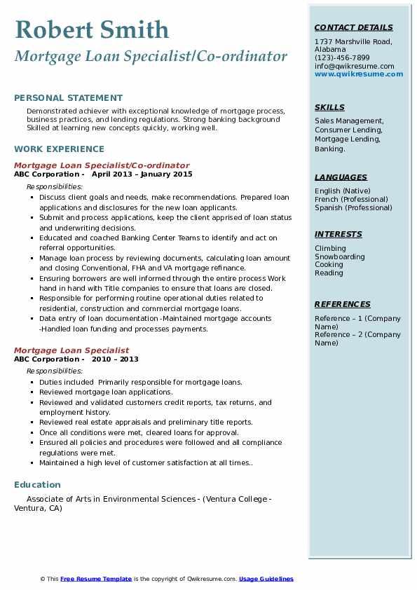 Mortgage Loan Specialist/Co-ordinator Resume Model