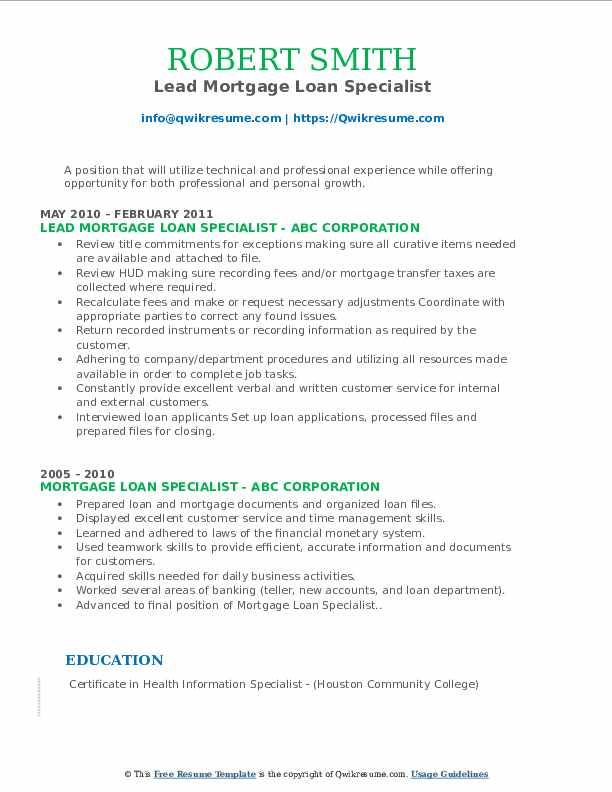 Lead Mortgage Loan Specialist Resume Model