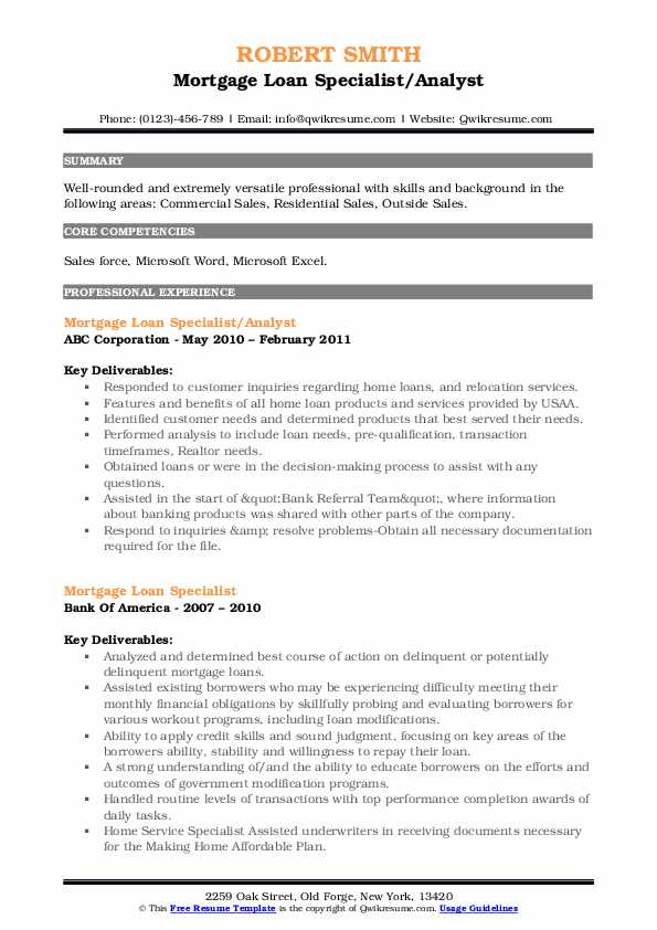 Mortgage Loan Specialist/Analyst Resume Example