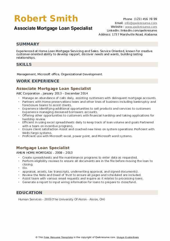 Associate Mortgage Loan Specialist Resume Model