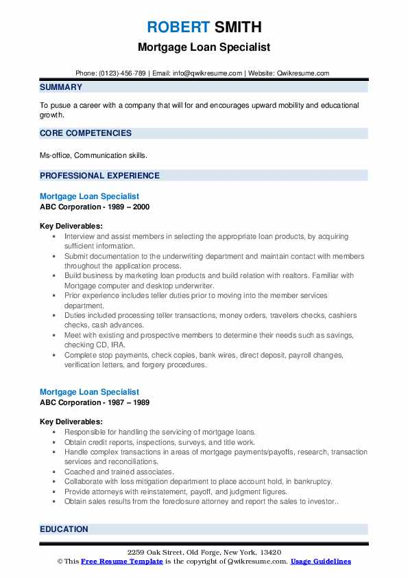 Mortgage Loan Specialist Resume example