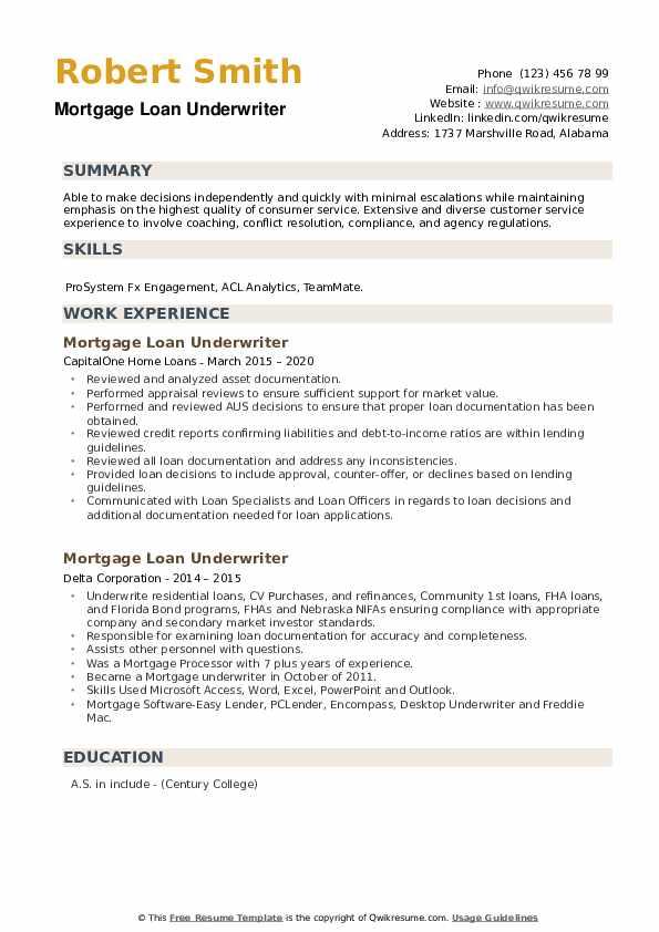 Mortgage Loan Underwriter Resume example