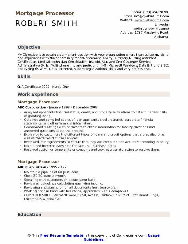 Mortgage Processor Resume Format