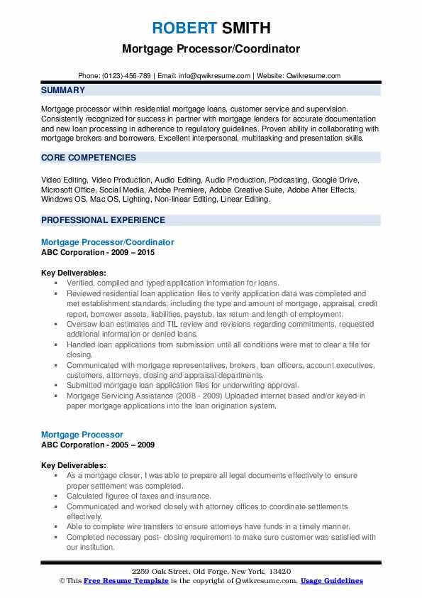 Mortgage Processor/Coordinator Resume Format