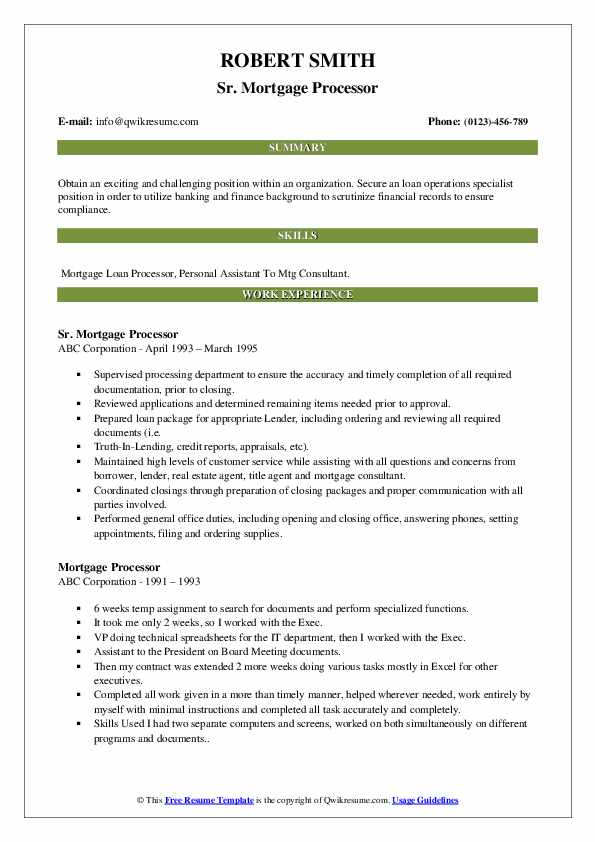 mortgage processor resume samples