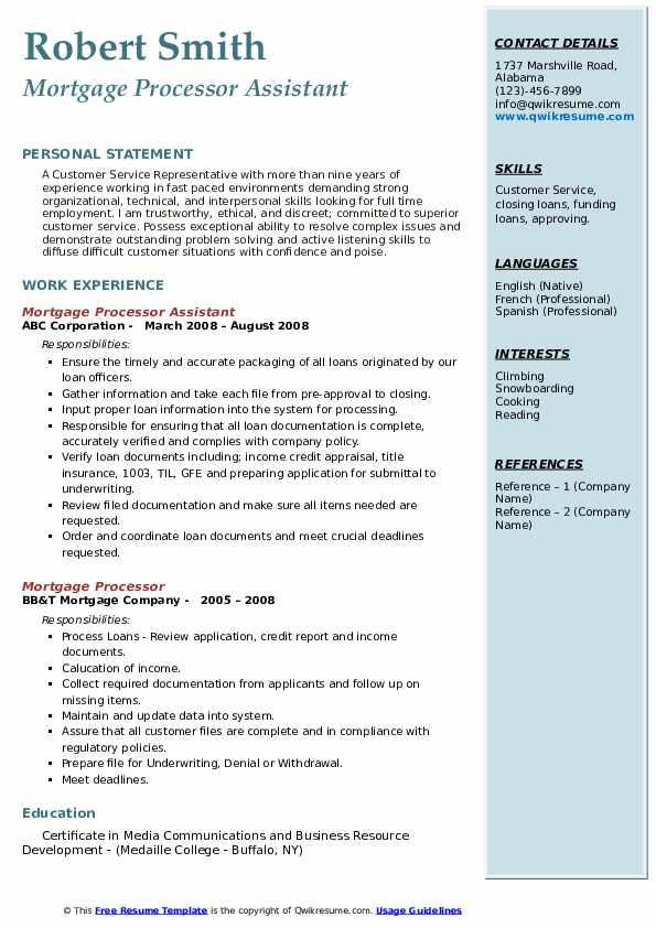 Mortgage Processor Assistant  Resume Model