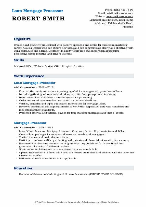 Loan Mortgage Processor Resume Sample