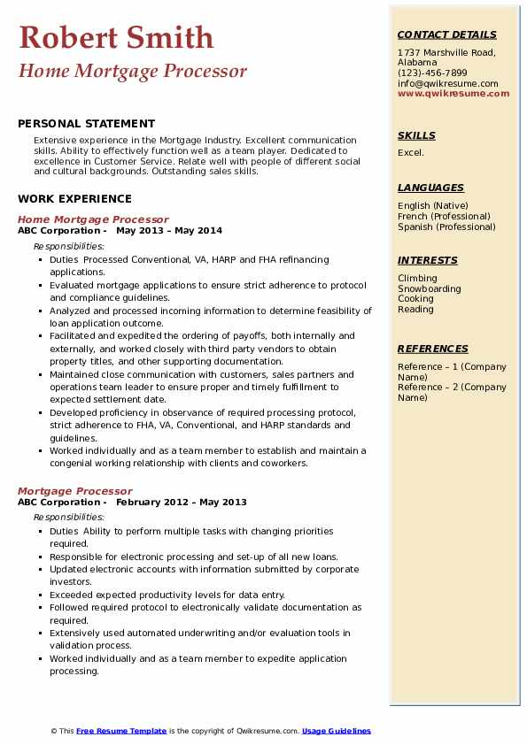 Home Mortgage Processor Resume Format