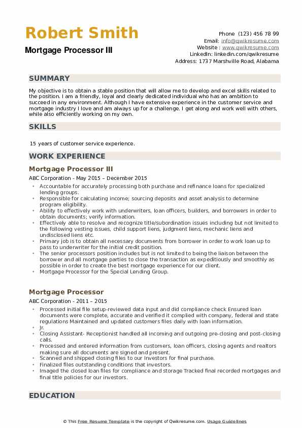 Mortgage Processor III Resume Sample
