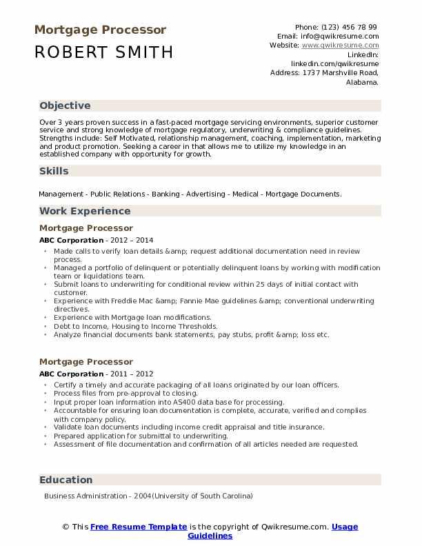Mortgage Processor Resume example
