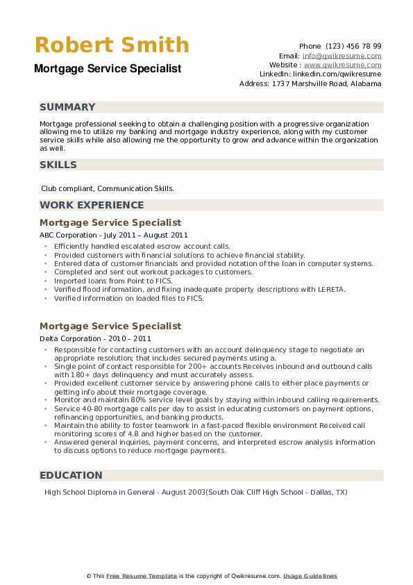 Mortgage Service Specialist Resume example