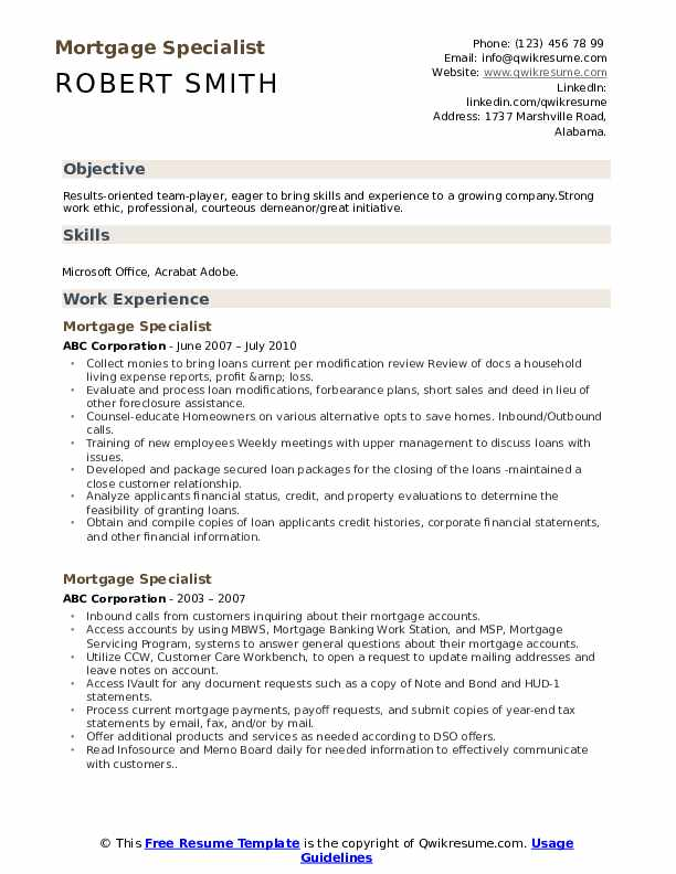 Mortgage Specialist Resume Sample