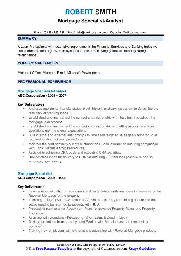 Mortgage Specialist/Analyst Resume Template