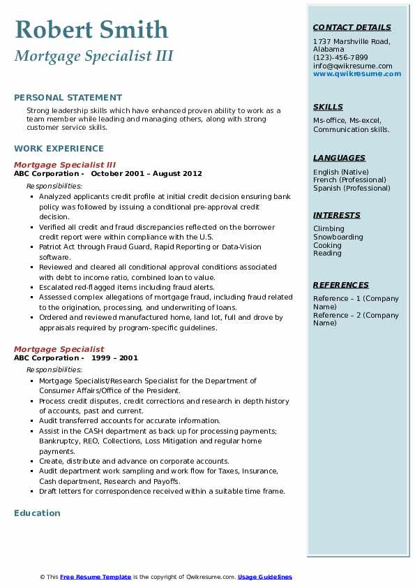 Mortgage Specialist III Resume Model