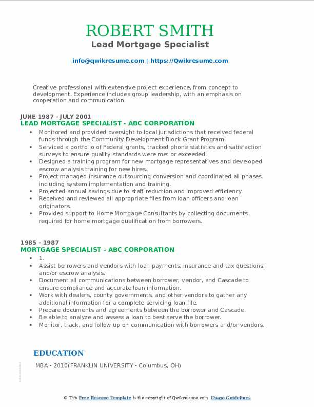 Lead Mortgage Specialist Resume Format