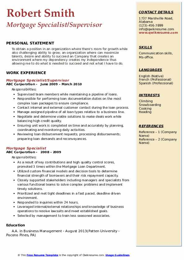 Mortgage Specialist/Supervisor Resume Format
