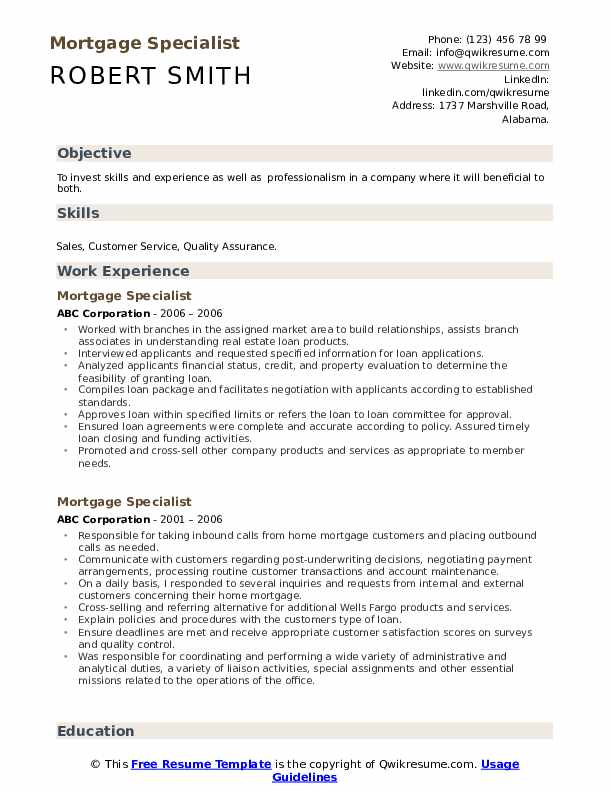 Mortgage Specialist Resume example