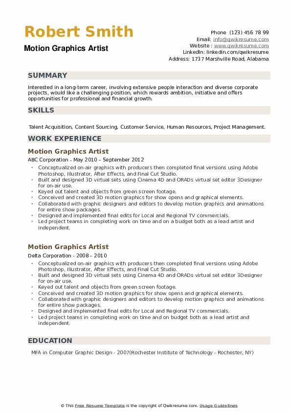 Motion Graphics Artist Resume example