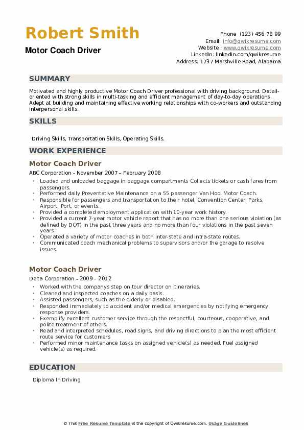 Motor Coach Driver Resume example