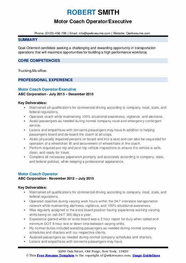 Motor Coach Operator/Executive Resume Sample