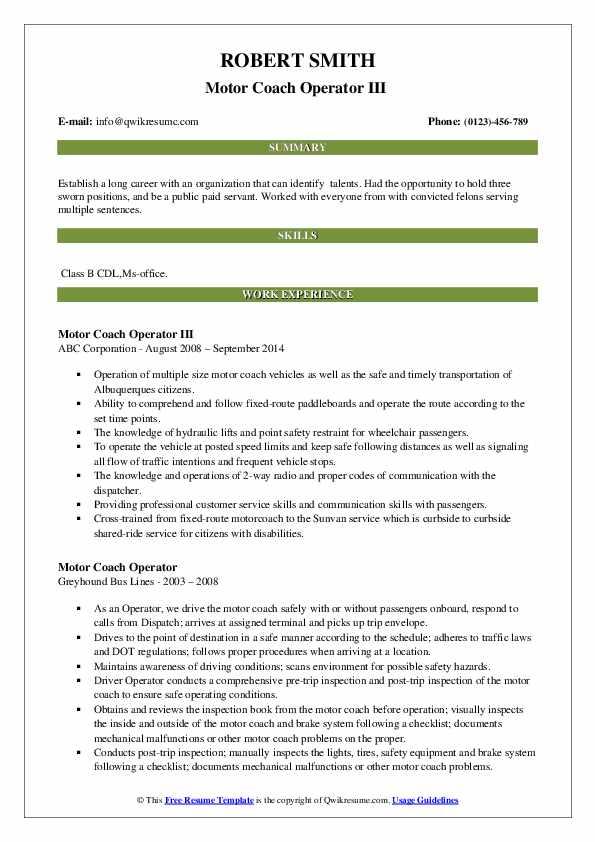 Motor Coach Operator III  Resume Example