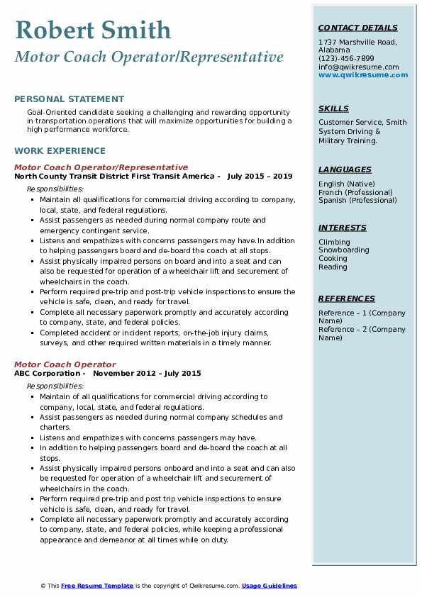 Motor Coach Operator/Representative Resume Model