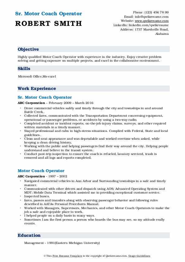 Sr. Motor Coach Operator Resume Model