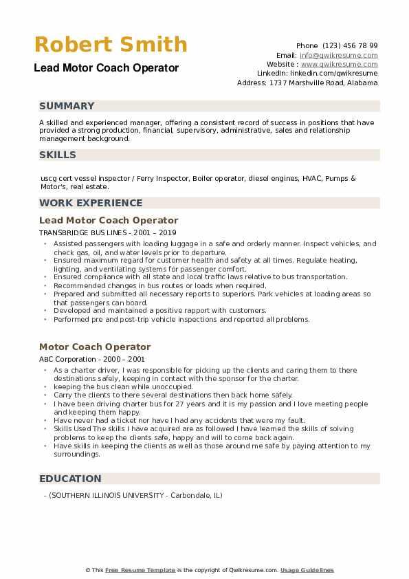 Lead Motor Coach Operator Resume Template