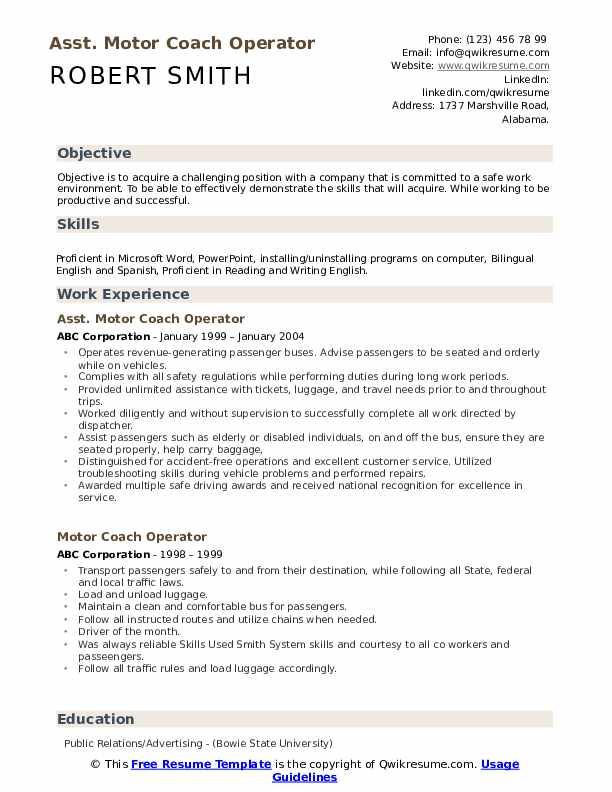Asst. Motor Coach Operator Resume Format
