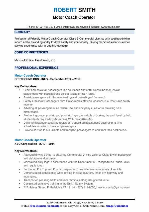 Motor Coach Operator Resume example
