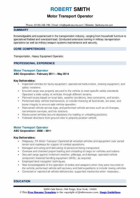 Motor Transport Operator Resume Samples | QwikResume