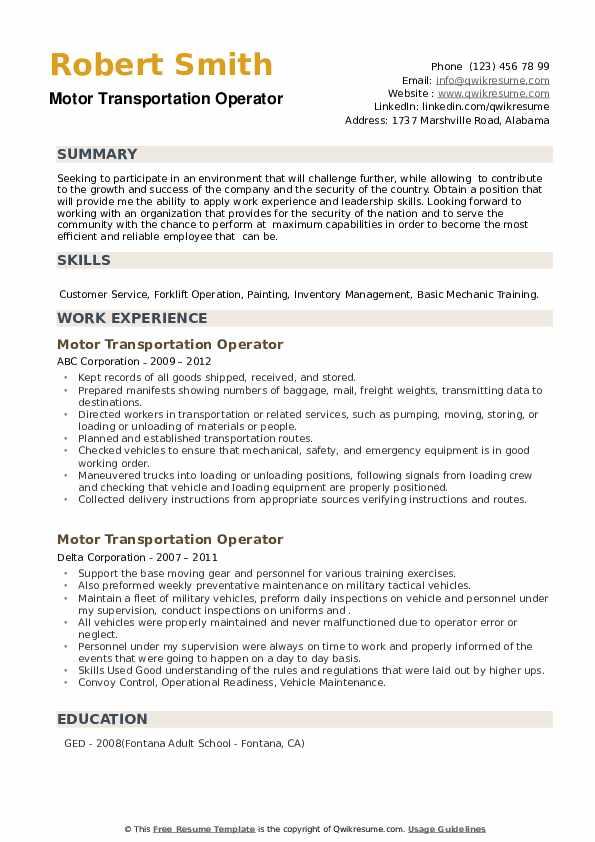 Motor Transportation Operator Resume example