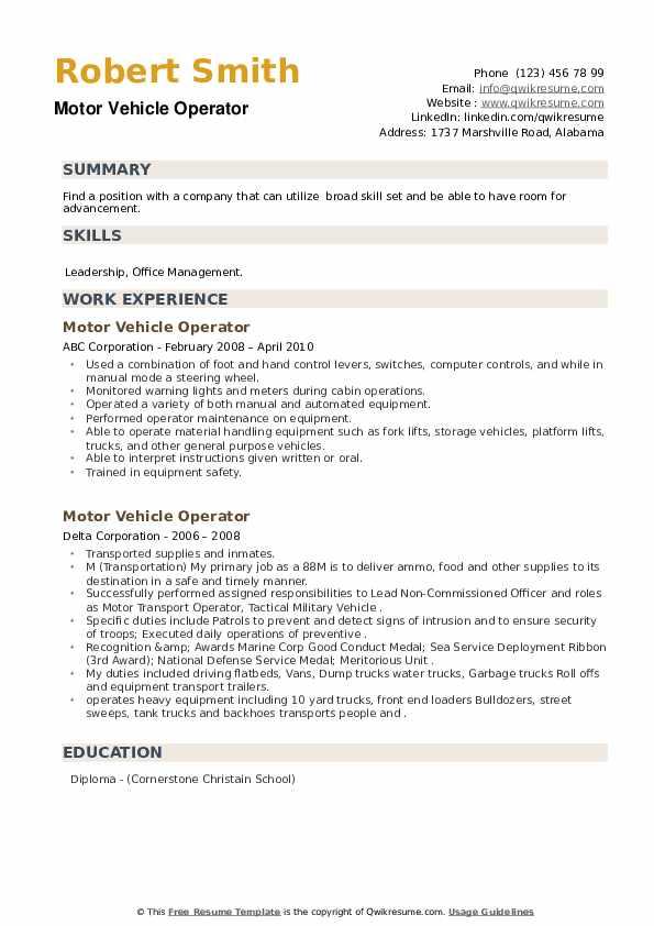 Motor Vehicle Operator Resume example