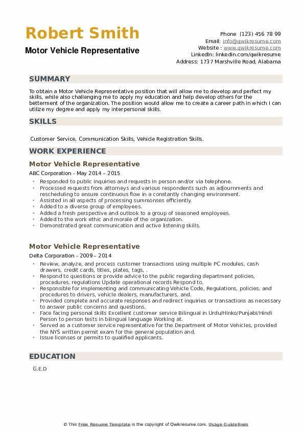 Motor Vehicle Representative Resume example