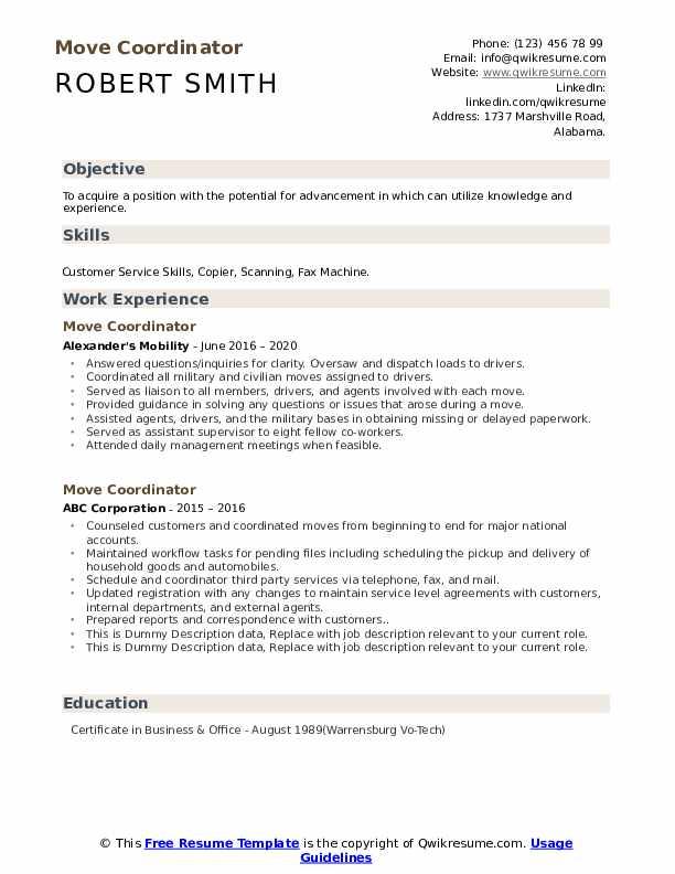Move Coordinator Resume example