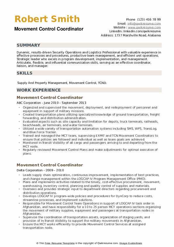 Movement Control Coordinator Resume example